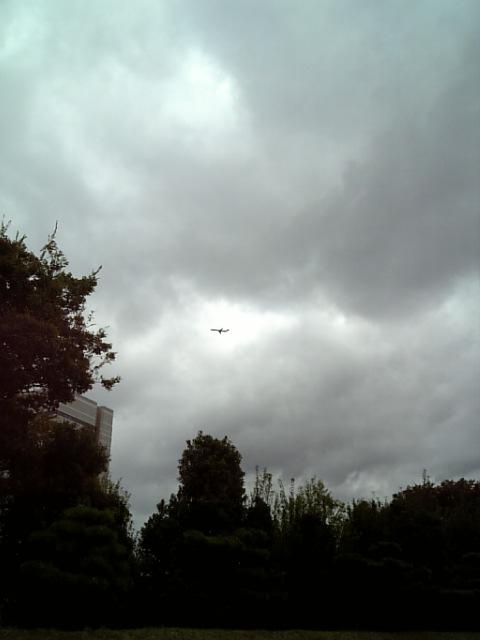 大阪城から飛行機